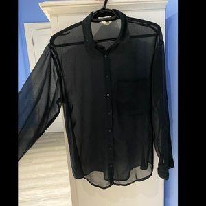 Garage sheer black button up long sleeve